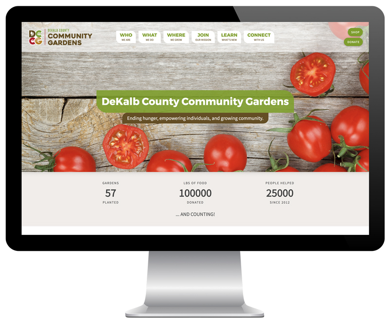 DeKalb County Community Gardens website as seen on a desktop computer