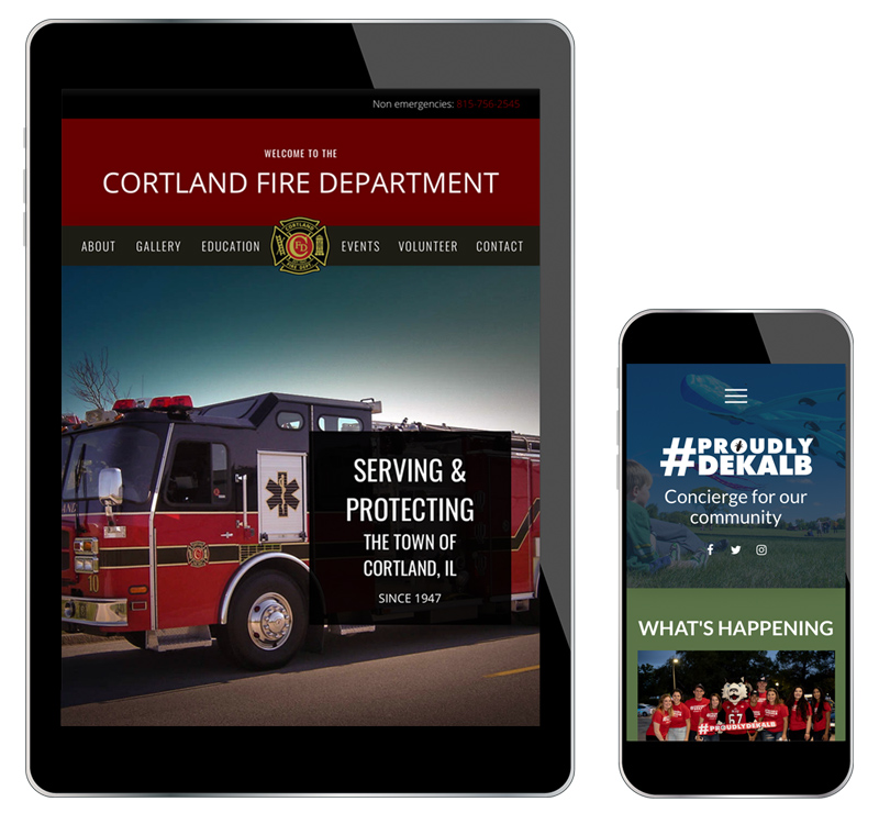 Cortland Fire Department and Proudly DeKalb websites as seen on a tablet and a phone