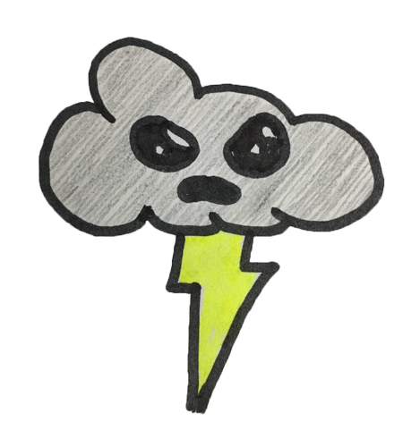 grumpy cartoon cloud