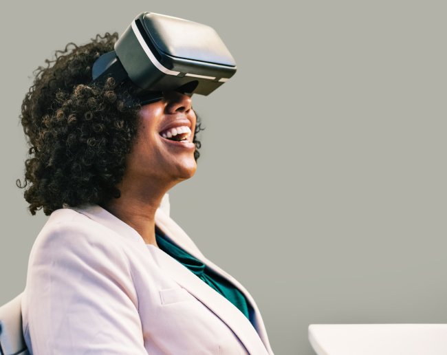 woman with vr goggles on