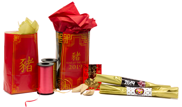 Chinese New Year gift bags shown on table with their contents