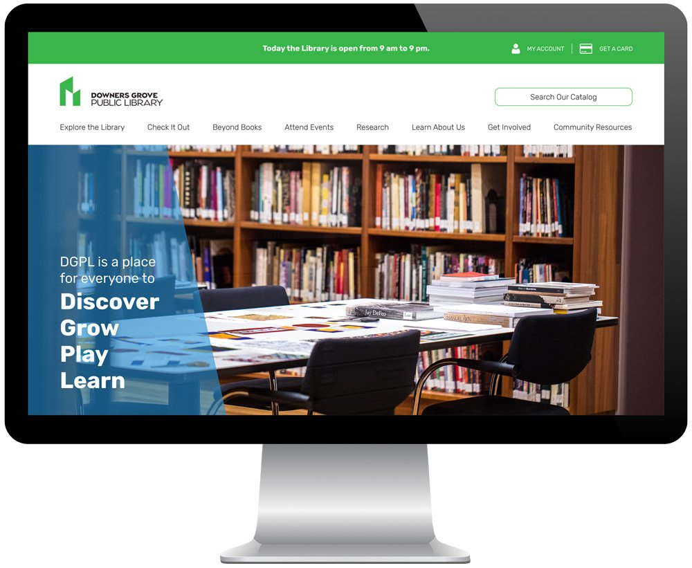 Downers Grove Public Library website as seen on a desktop computer