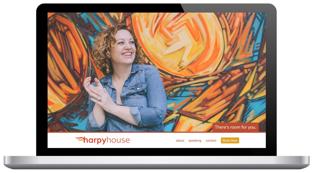 Harpy House website as seen on a laptop