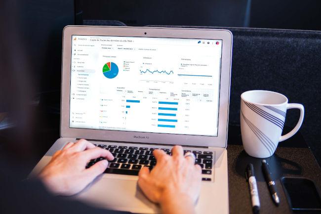graphs on a website screen
