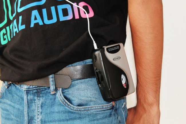 80s jeans and a walkman
